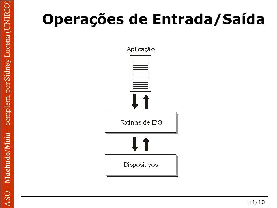 ASO – Machado/Maia – complem. por Sidney Lucena (UNIRIO) 11/10 ASO – Machado/Maia – complem. por Sidney Lucena (UNIRIO) Operações de Entrada/Saída