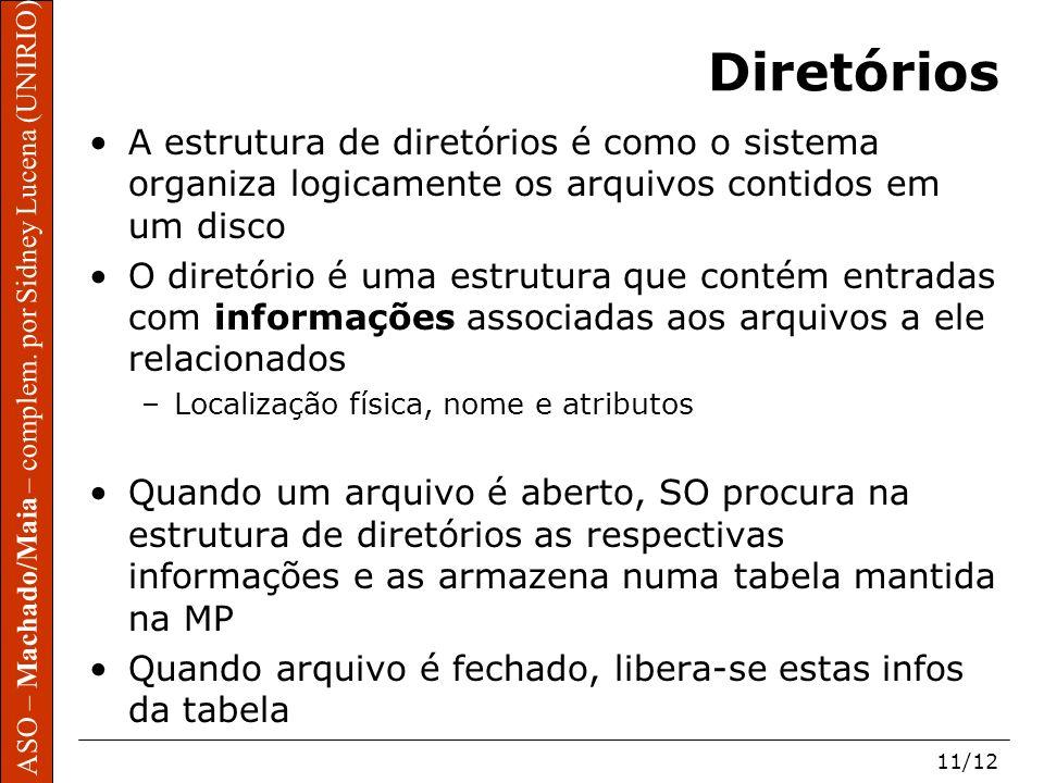 ASO – Machado/Maia – complem. por Sidney Lucena (UNIRIO) 11/12 Diretórios A estrutura de diretórios é como o sistema organiza logicamente os arquivos