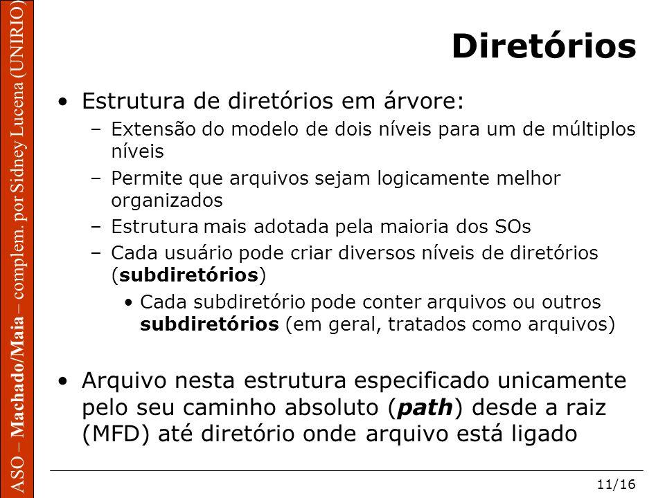 ASO – Machado/Maia – complem. por Sidney Lucena (UNIRIO) 11/16 Diretórios Estrutura de diretórios em árvore: –Extensão do modelo de dois níveis para u