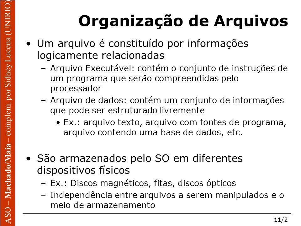 ASO – Machado/Maia – complem. por Sidney Lucena (UNIRIO) 11/2 Organização de Arquivos Um arquivo é constituído por informações logicamente relacionada