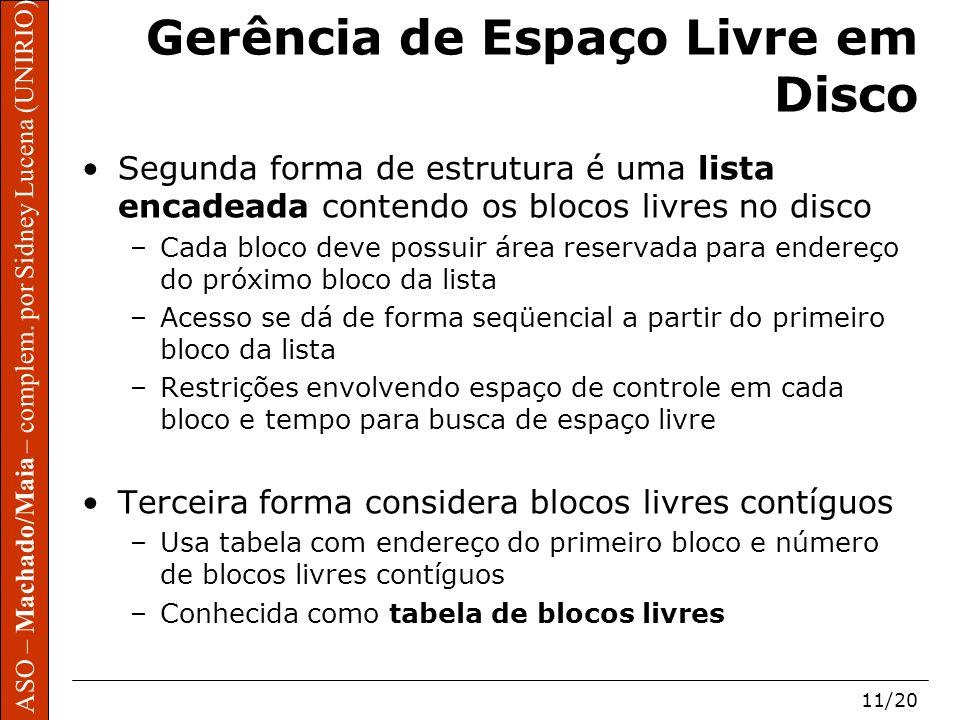 ASO – Machado/Maia – complem. por Sidney Lucena (UNIRIO) 11/20 Gerência de Espaço Livre em Disco Segunda forma de estrutura é uma lista encadeada cont