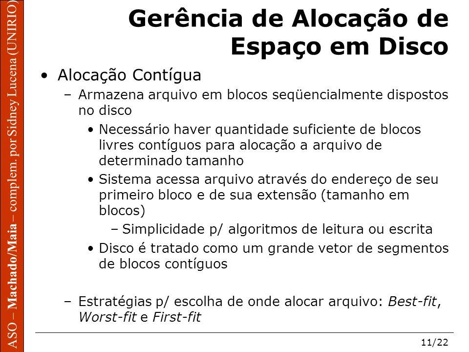 ASO – Machado/Maia – complem. por Sidney Lucena (UNIRIO) 11/22 Gerência de Alocação de Espaço em Disco Alocação Contígua –Armazena arquivo em blocos s