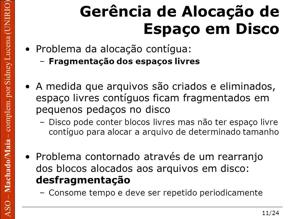 ASO – Machado/Maia – complem. por Sidney Lucena (UNIRIO) 11/24 Gerência de Alocação de Espaço em Disco Problema da alocação contígua: –Fragmentação do