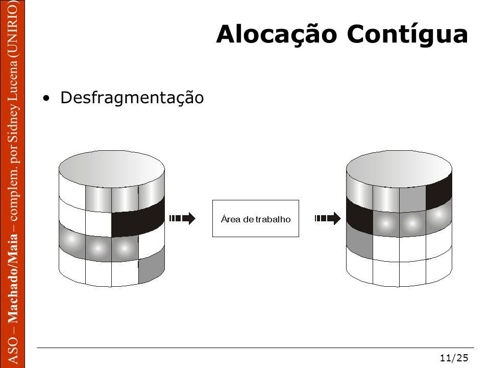 ASO – Machado/Maia – complem. por Sidney Lucena (UNIRIO) 11/25 Alocação Contígua Desfragmentação
