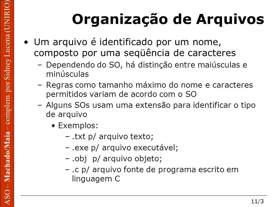 ASO – Machado/Maia – complem. por Sidney Lucena (UNIRIO) 11/3 Organização de Arquivos Um arquivo é identificado por um nome, composto por uma seqüênci