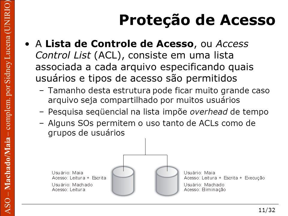 ASO – Machado/Maia – complem. por Sidney Lucena (UNIRIO) 11/32 Proteção de Acesso A Lista de Controle de Acesso, ou Access Control List (ACL), consist