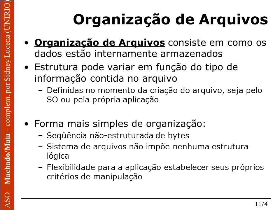 ASO – Machado/Maia – complem. por Sidney Lucena (UNIRIO) 11/4 Organização de Arquivos Organização de Arquivos consiste em como os dados estão internam