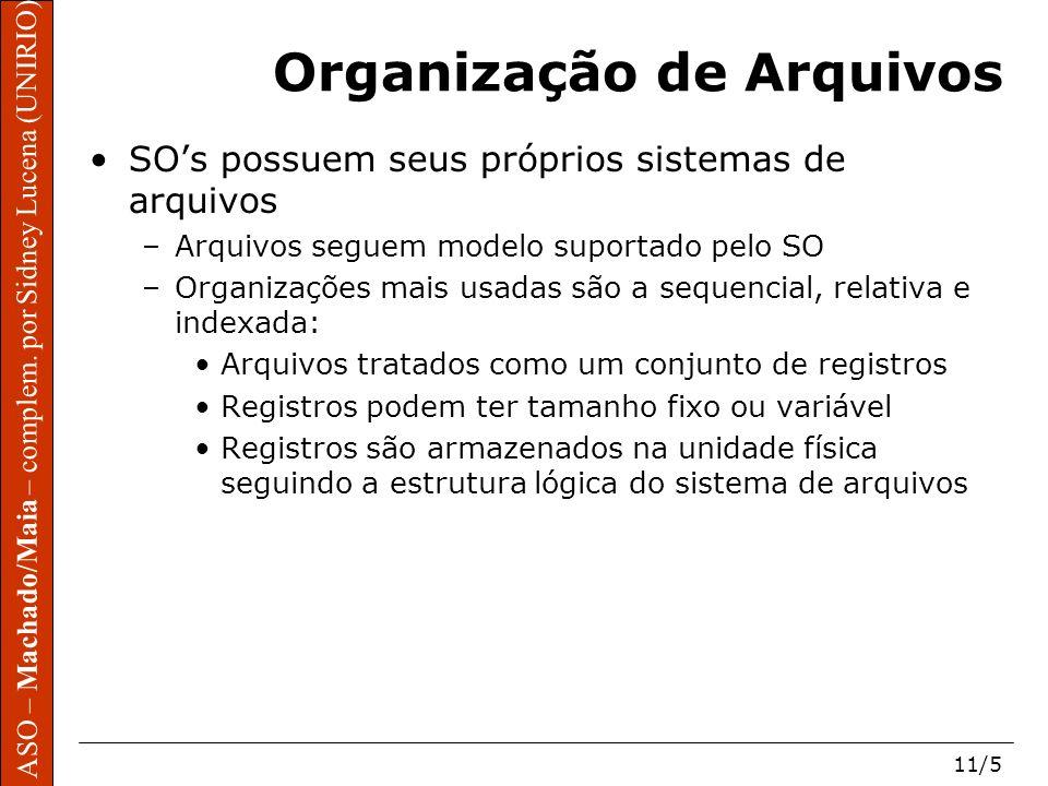 ASO – Machado/Maia – complem. por Sidney Lucena (UNIRIO) 11/5 Organização de Arquivos SOs possuem seus próprios sistemas de arquivos –Arquivos seguem