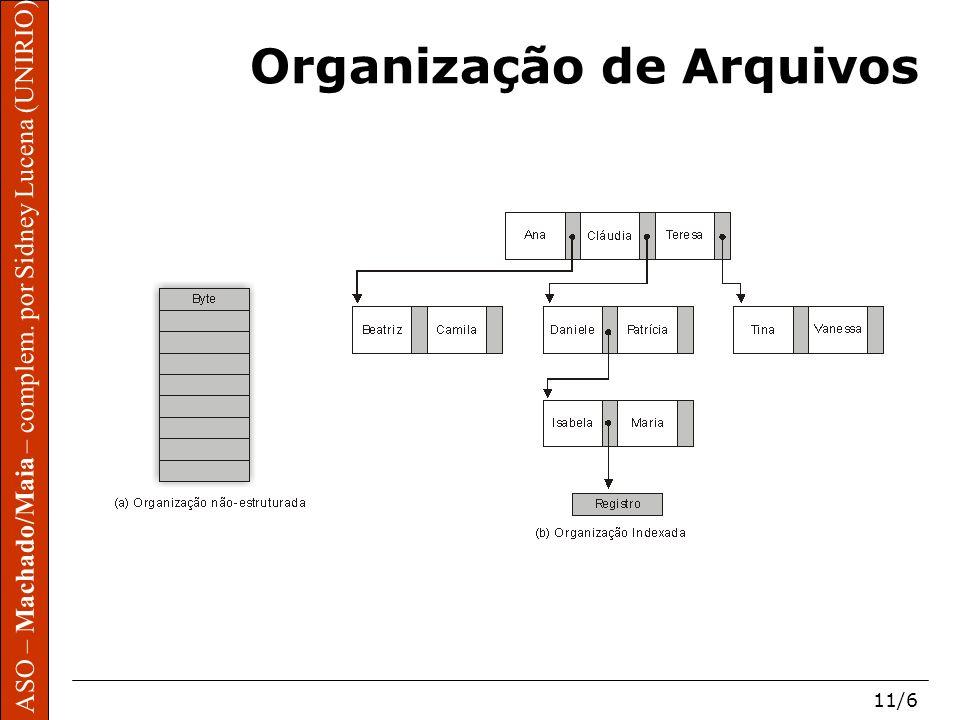 ASO – Machado/Maia – complem. por Sidney Lucena (UNIRIO) 11/6 Organização de Arquivos