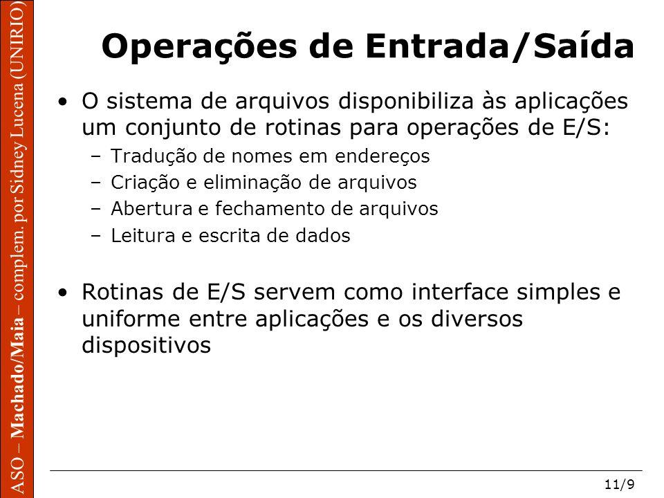 ASO – Machado/Maia – complem. por Sidney Lucena (UNIRIO) 11/9 ASO – Machado/Maia – complem. por Sidney Lucena (UNIRIO) Operações de Entrada/Saída O si