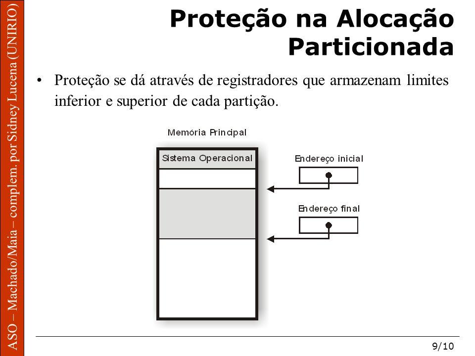 ASO – Machado/Maia – complem. por Sidney Lucena (UNIRIO) 9/10 Proteção na Alocação Particionada Proteção se dá através de registradores que armazenam
