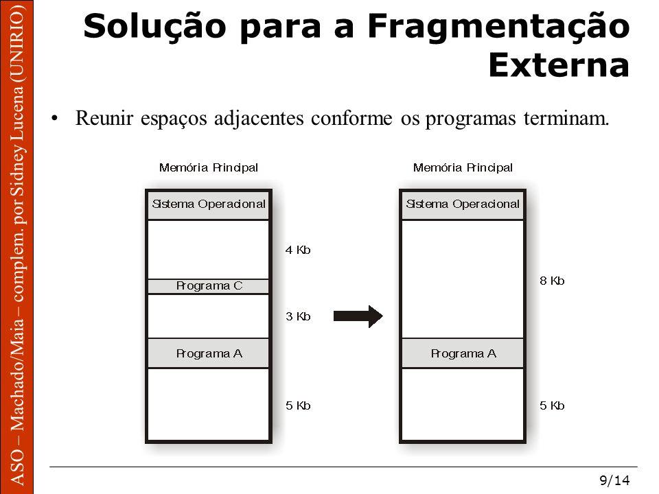 ASO – Machado/Maia – complem. por Sidney Lucena (UNIRIO) 9/14 Solução para a Fragmentação Externa Reunir espaços adjacentes conforme os programas term