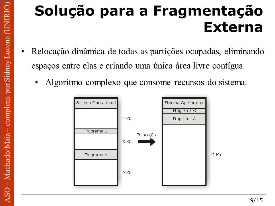 ASO – Machado/Maia – complem. por Sidney Lucena (UNIRIO) 9/15 Solução para a Fragmentação Externa Relocação dinâmica de todas as partições ocupadas, e