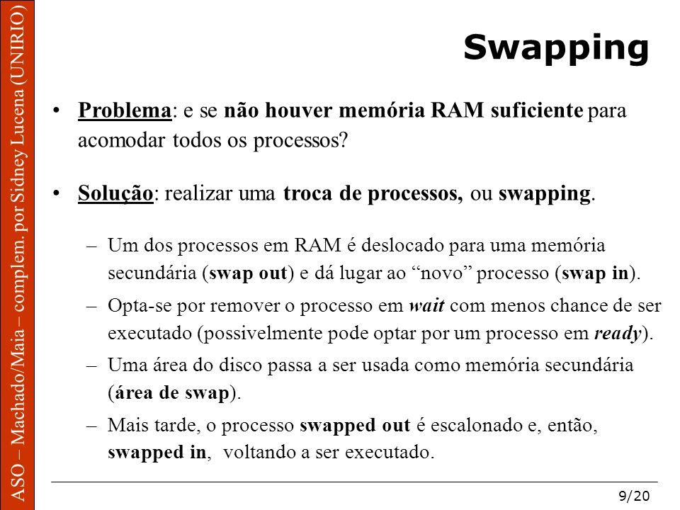 ASO – Machado/Maia – complem. por Sidney Lucena (UNIRIO) 9/20 Swapping Problema: e se não houver memória RAM suficiente para acomodar todos os process