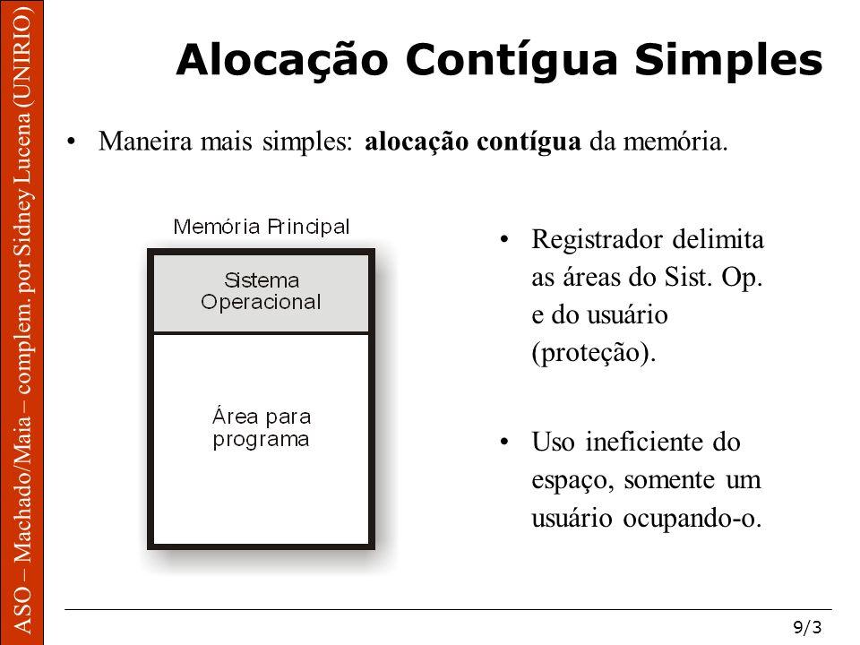 ASO – Machado/Maia – complem. por Sidney Lucena (UNIRIO) 9/3 Alocação Contígua Simples Maneira mais simples: alocação contígua da memória. Registrador