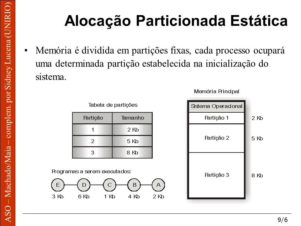 ASO – Machado/Maia – complem. por Sidney Lucena (UNIRIO) 9/6 ASO – Machado/Maia – complem. por Sidney Lucena (UNIRIO) Alocação Particionada Estática M