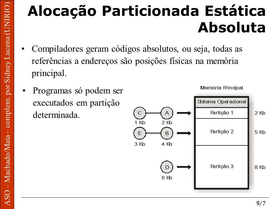 ASO – Machado/Maia – complem. por Sidney Lucena (UNIRIO) 9/7 Alocação Particionada Estática Absoluta Compiladores geram códigos absolutos, ou seja, to
