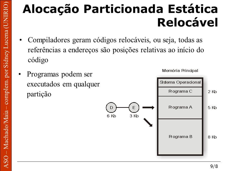 ASO – Machado/Maia – complem. por Sidney Lucena (UNIRIO) 9/8 Alocação Particionada Estática Relocável Compiladores geram códigos relocáveis, ou seja,