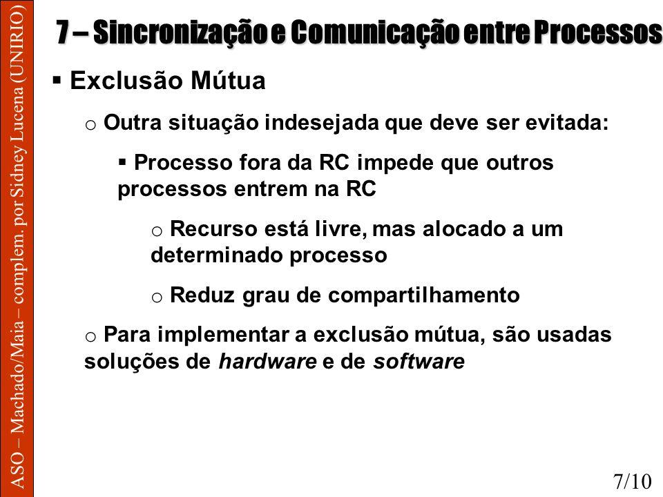 ASO – Machado/Maia – complem. por Sidney Lucena (UNIRIO) 7 – Sincronização e Comunicação entre Processos Exclusão Mútua o Outra situação indesejada qu