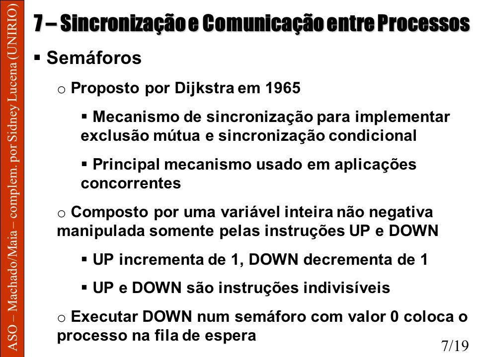 ASO – Machado/Maia – complem. por Sidney Lucena (UNIRIO) 7 – Sincronização e Comunicação entre Processos Semáforos o Proposto por Dijkstra em 1965 Mec