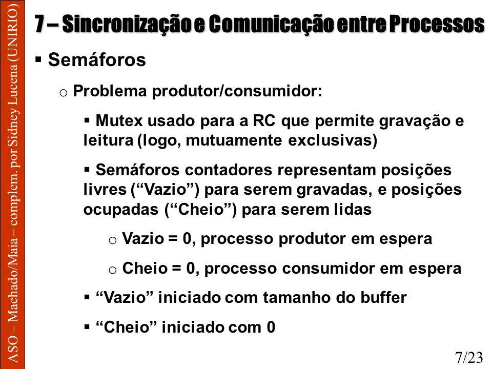 ASO – Machado/Maia – complem. por Sidney Lucena (UNIRIO) 7 – Sincronização e Comunicação entre Processos Semáforos o Problema produtor/consumidor: Mut