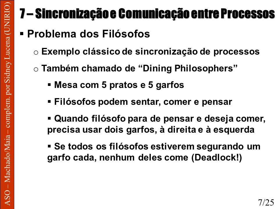ASO – Machado/Maia – complem. por Sidney Lucena (UNIRIO) 7 – Sincronização e Comunicação entre Processos Problema dos Filósofos o Exemplo clássico de