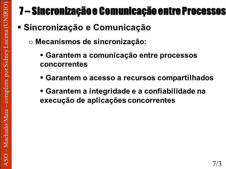 ASO – Machado/Maia – complem. por Sidney Lucena (UNIRIO) 7 – Sincronização e Comunicação entre Processos Sincronização e Comunicação o Mecanismos de s