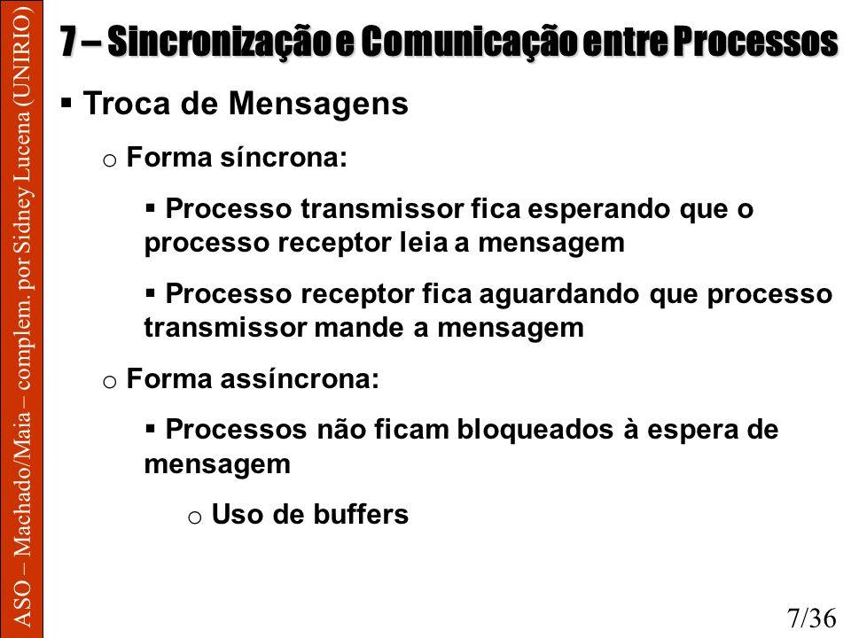 ASO – Machado/Maia – complem. por Sidney Lucena (UNIRIO) 7 – Sincronização e Comunicação entre Processos Troca de Mensagens o Forma síncrona: Processo