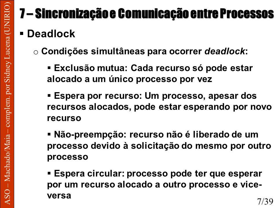 ASO – Machado/Maia – complem. por Sidney Lucena (UNIRIO) 7 – Sincronização e Comunicação entre Processos Deadlock o Condições simultâneas para ocorrer