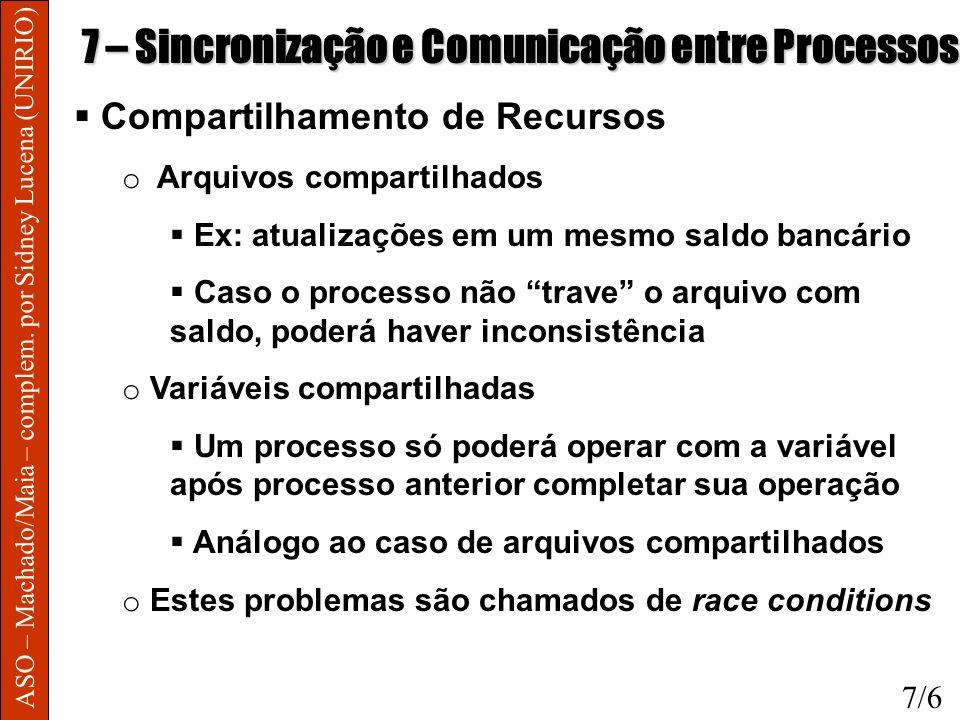 ASO – Machado/Maia – complem. por Sidney Lucena (UNIRIO) 7 – Sincronização e Comunicação entre Processos Compartilhamento de Recursos o Arquivos compa