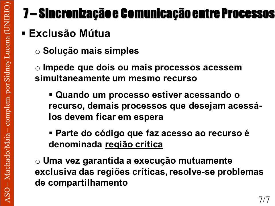 ASO – Machado/Maia – complem. por Sidney Lucena (UNIRIO) 7 – Sincronização e Comunicação entre Processos Exclusão Mútua o Solução mais simples o Imped