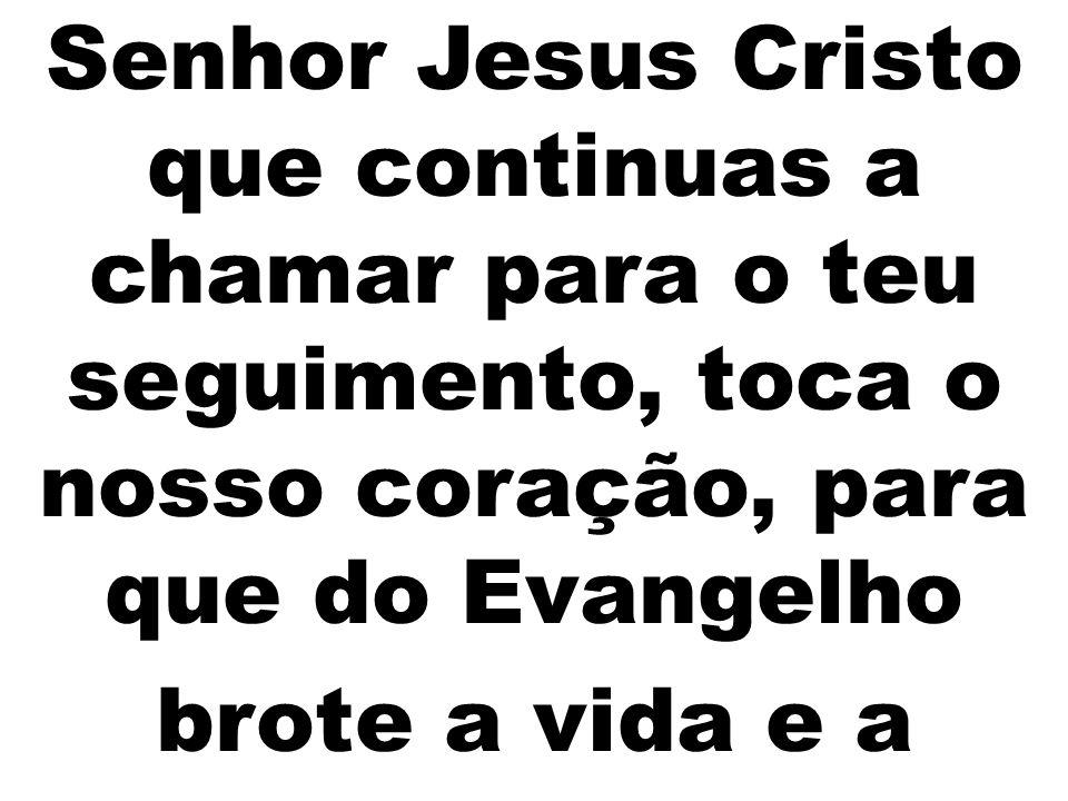 Senhor Jesus Cristo que continuas a chamar para o teu seguimento, toca o nosso coração, para que do Evangelho brote a vida e a