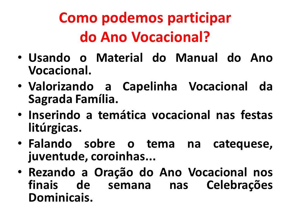 Como podemos participar do Ano Vocacional? Usando o Material do Manual do Ano Vocacional. Valorizando a Capelinha Vocacional da Sagrada Família. Inser