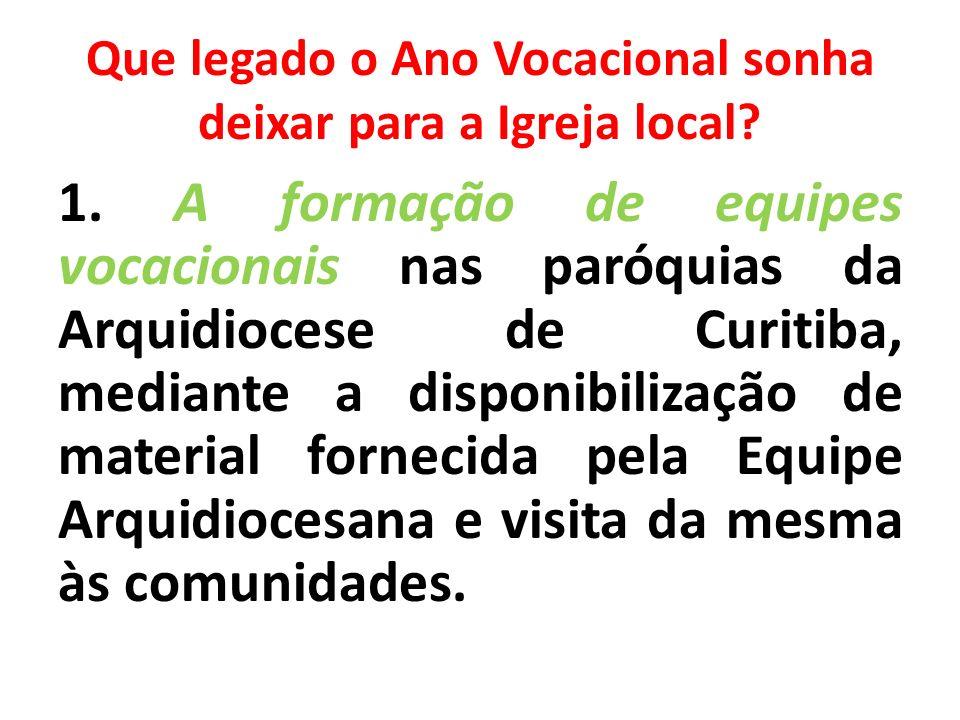 Que legado o Ano Vocacional sonha deixar para a Igreja local? 1. A formação de equipes vocacionais nas paróquias da Arquidiocese de Curitiba, mediante