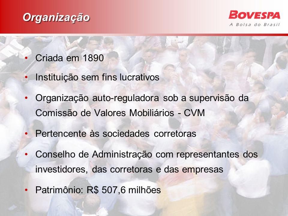 Organização Criada em 1890 Instituição sem fins lucrativos Organização auto-reguladora sob a supervisão da Comissão de Valores Mobiliários - CVM Perte