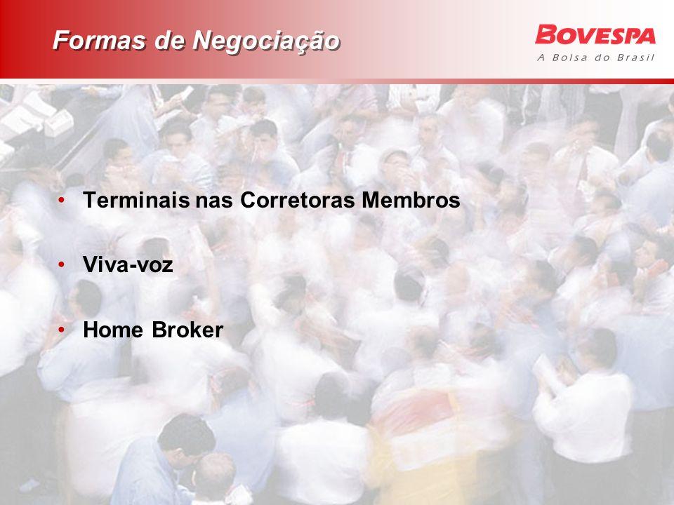 Formas de Negociação Terminais nas Corretoras Membros Viva-voz Home Broker