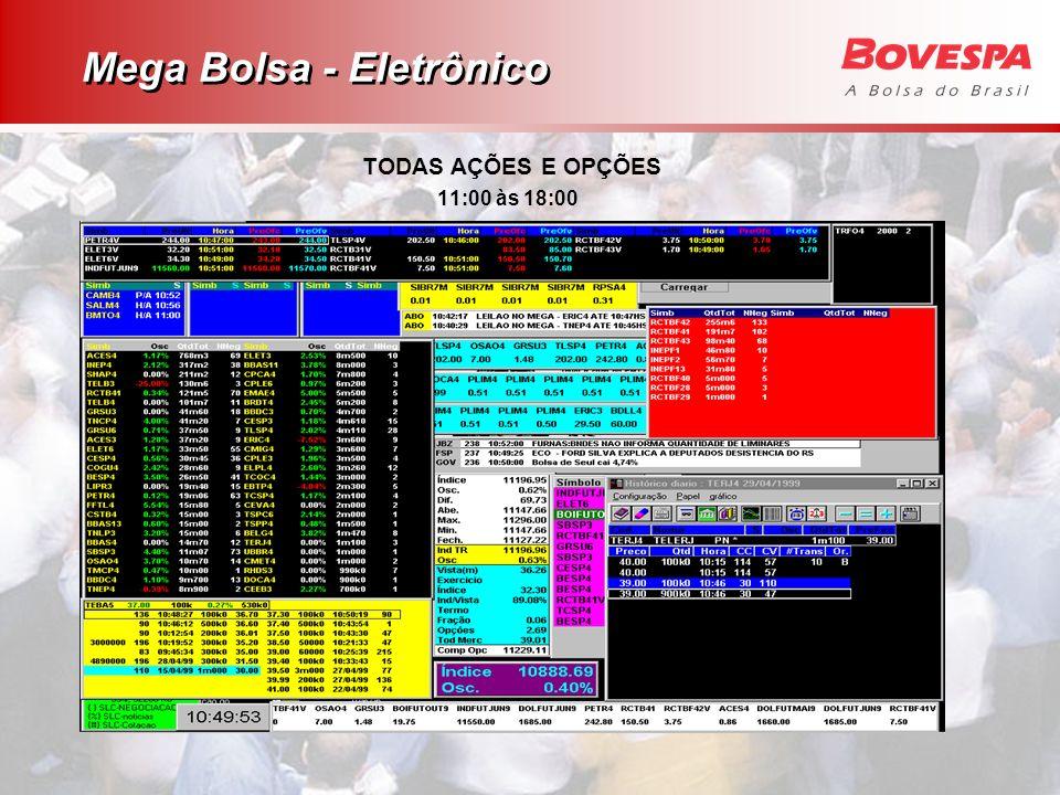 Mega Bolsa - Eletrônico TODAS AÇÕES E OPÇÕES 11:00 às 18:00