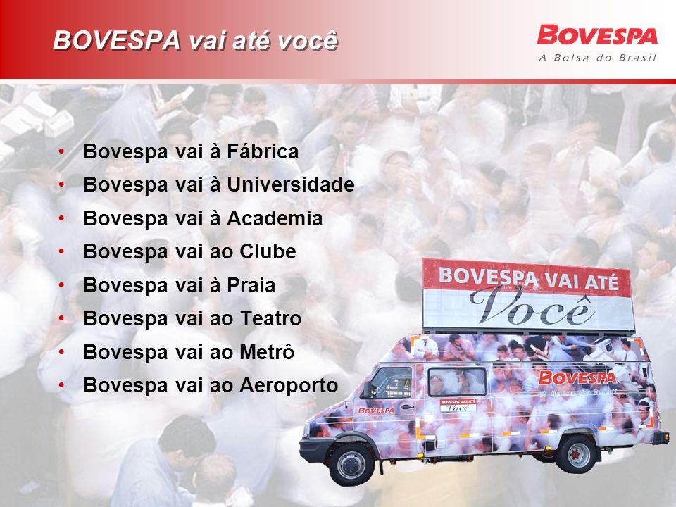 BOVESPA vai até você Bovespa vai à Fábrica Bovespa vai à Universidade Bovespa vai à Academia Bovespa vai ao Clube Bovespa vai à Praia Bovespa vai ao T