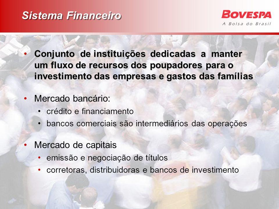Sistema Financeiro Conjunto de instituições dedicadas a manter um fluxo de recursos dos poupadores para o investimento das empresas e gastos das famíl
