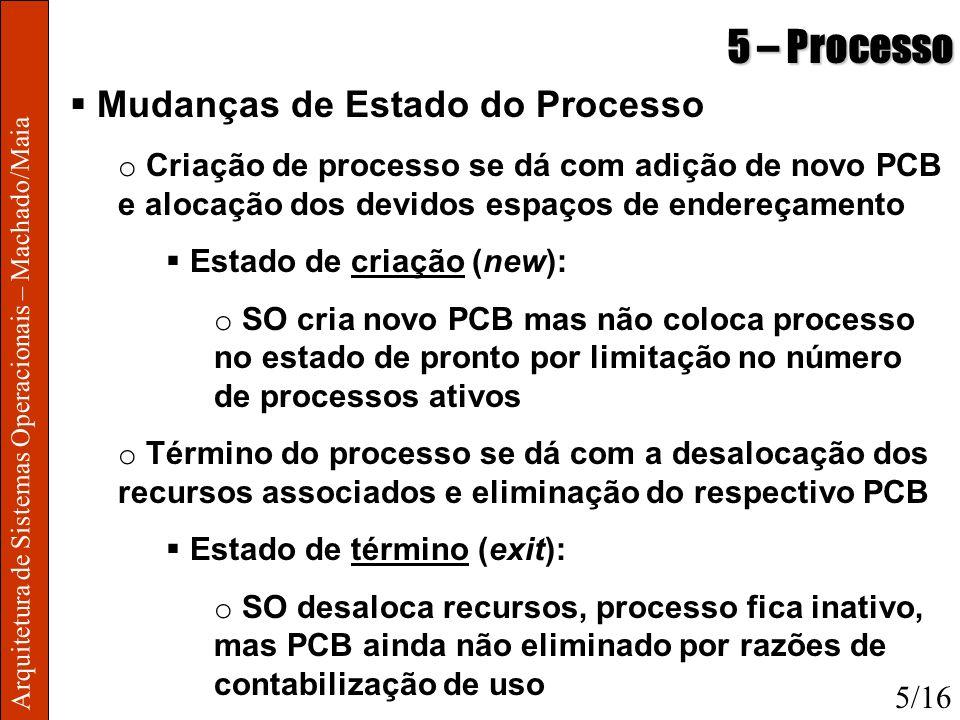Arquitetura de Sistemas Operacionais – Machado/Maia 5 – Processo Mudanças de Estado do Processo o Criação de processo se dá com adição de novo PCB e a