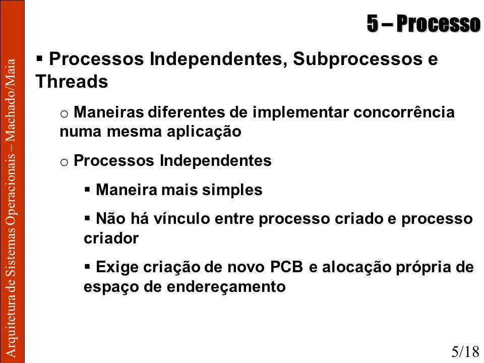 Arquitetura de Sistemas Operacionais – Machado/Maia 5 – Processo Processos Independentes, Subprocessos e Threads o Maneiras diferentes de implementar