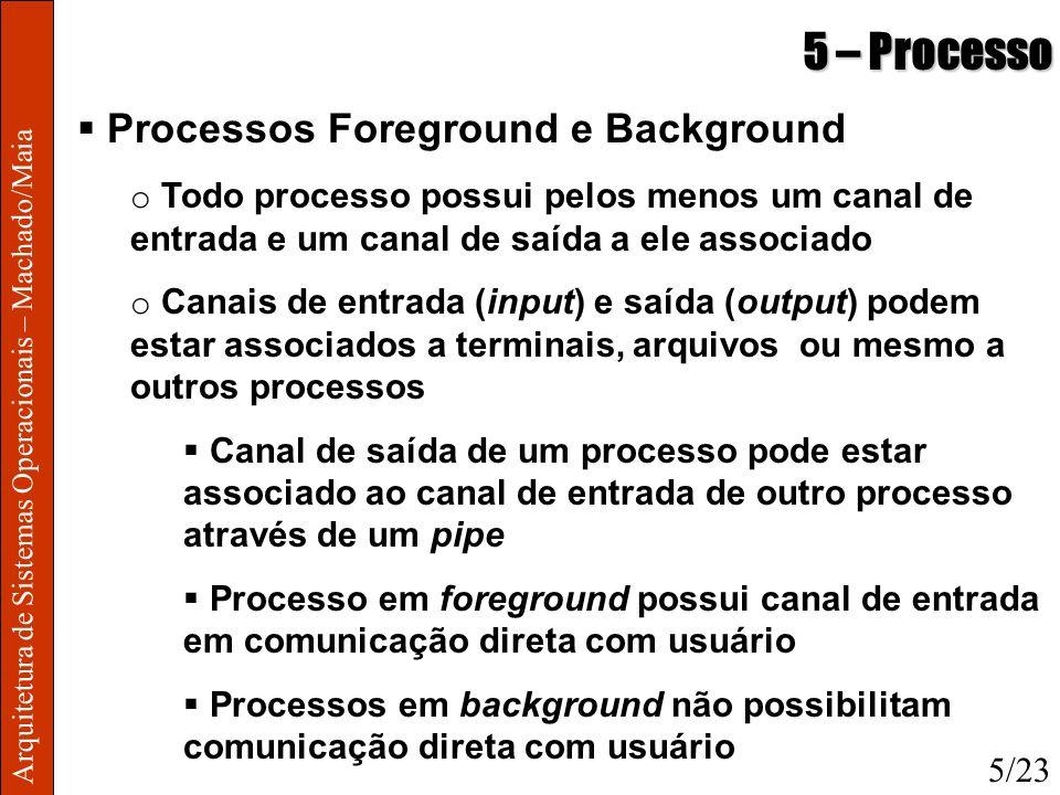 Arquitetura de Sistemas Operacionais – Machado/Maia 5 – Processo Processos Foreground e Background o Todo processo possui pelos menos um canal de entr