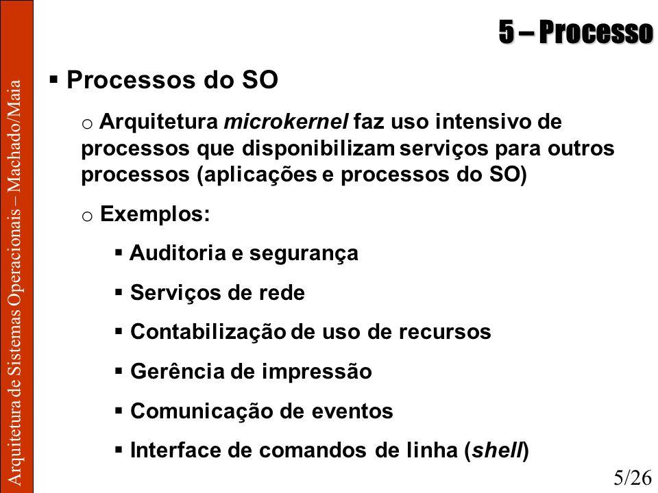 Arquitetura de Sistemas Operacionais – Machado/Maia 5 – Processo Processos do SO o Arquitetura microkernel faz uso intensivo de processos que disponib