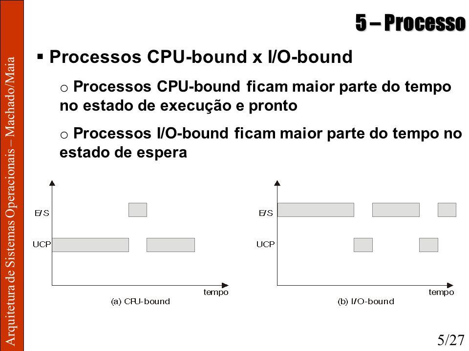 Arquitetura de Sistemas Operacionais – Machado/Maia 5 – Processo Processos CPU-bound x I/O-bound o Processos CPU-bound ficam maior parte do tempo no e