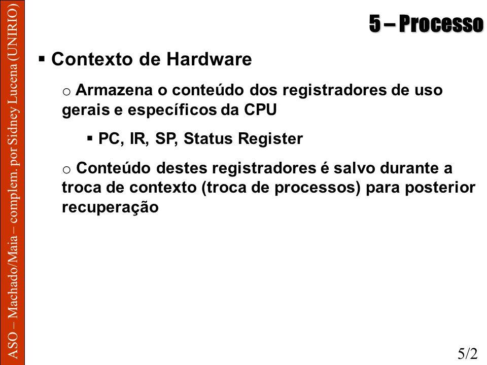 5 – Processo Contexto de Hardware o Armazena o conteúdo dos registradores de uso gerais e específicos da CPU PC, IR, SP, Status Register o Conteúdo de