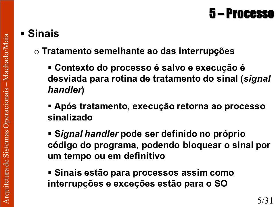 Arquitetura de Sistemas Operacionais – Machado/Maia 5 – Processo Sinais o Tratamento semelhante ao das interrupções Contexto do processo é salvo e exe