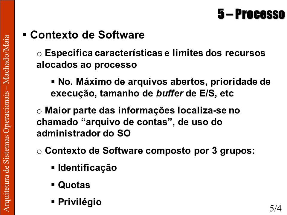 Arquitetura de Sistemas Operacionais – Machado/Maia 5 – Processo Contexto de Software o Especifica características e limites dos recursos alocados ao