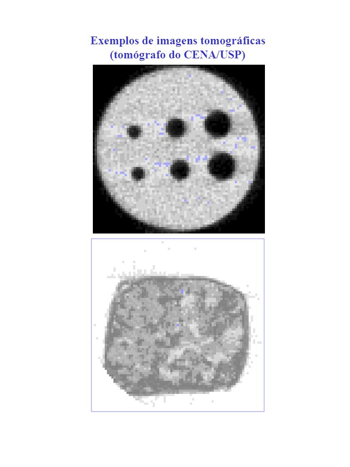 Para uma amostra seca tem-se: Para uma amostra de solo úmido tem-se: Unidade tomográfica – Unidade Hounsfield
