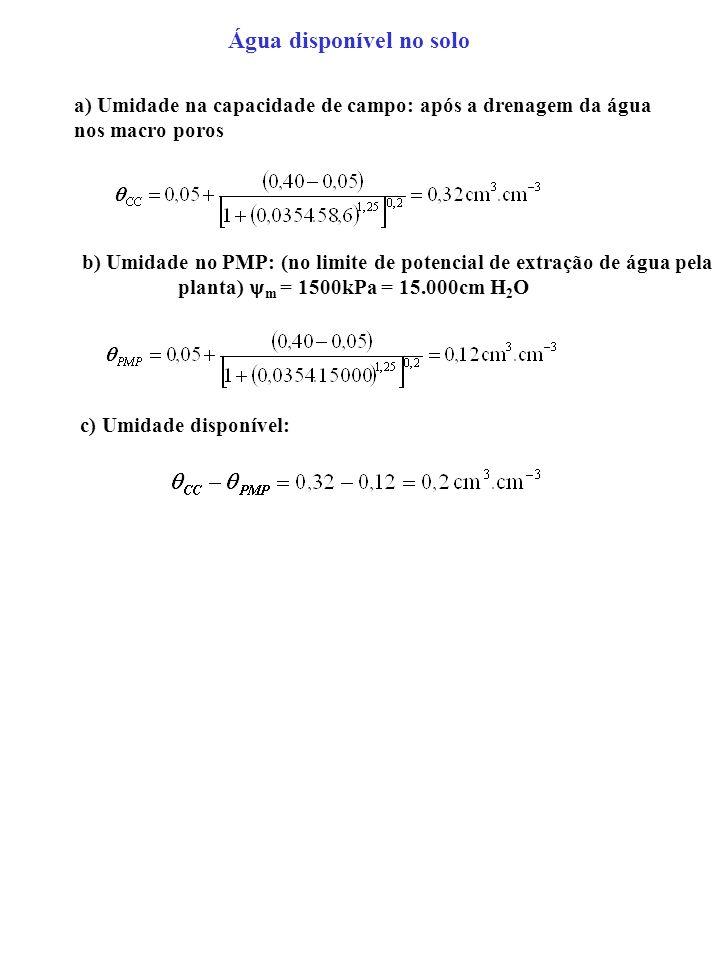 Água disponível no solo a) Umidade na capacidade de campo: após a drenagem da água nos macro poros b) Umidade no PMP: (no limite de potencial de extra