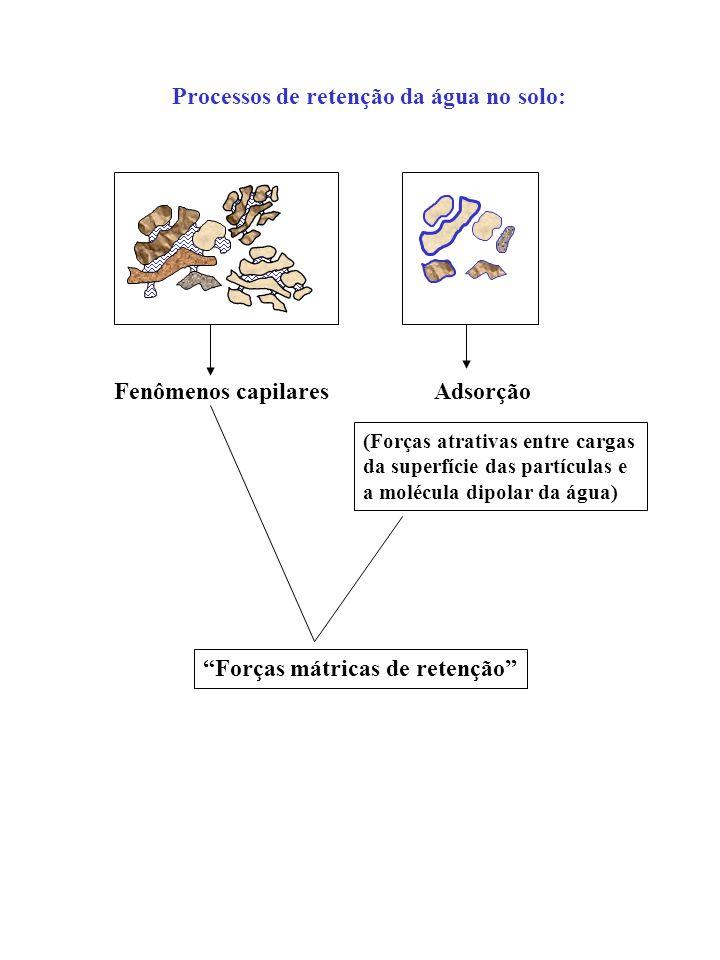 Fenômenos capilaresAdsorção (Forças atrativas entre cargas da superfície das partículas e a molécula dipolar da água) Forças mátricas de retenção Proc